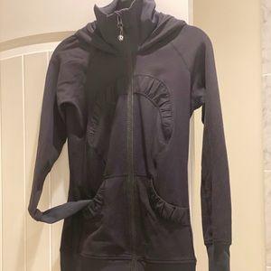 Lululemon Jacket Black Fitted Full Zip Hooded Sz 2